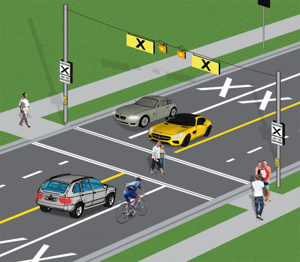 "diagram of a pedestrian crossover. The image shows a mid-block pedestrian crossover on a four-lane roadway. Two large white X marks appear on the roadway in the two lanes approaching the crossover. The crossover is marked by two sets of double white bars which run across the roadway. Two rectangular signs with a large black X and the word ""pedestrians"" in black on a white background are installed at the crossover on each side of the roadway – underneath, there are two signs with the message ""stop for pedestrians"". Two rectangular amber signs with a black X marking are installed over the roadway, one for each direction of travel. There are two round amber lights near the inside edges of the rectangular amber signs. Pedestrians are crossing the road. Cars and a bicycle are stopped at the crossover. They must wait until pedestrians are on the sidewalk across the road before they proceed."