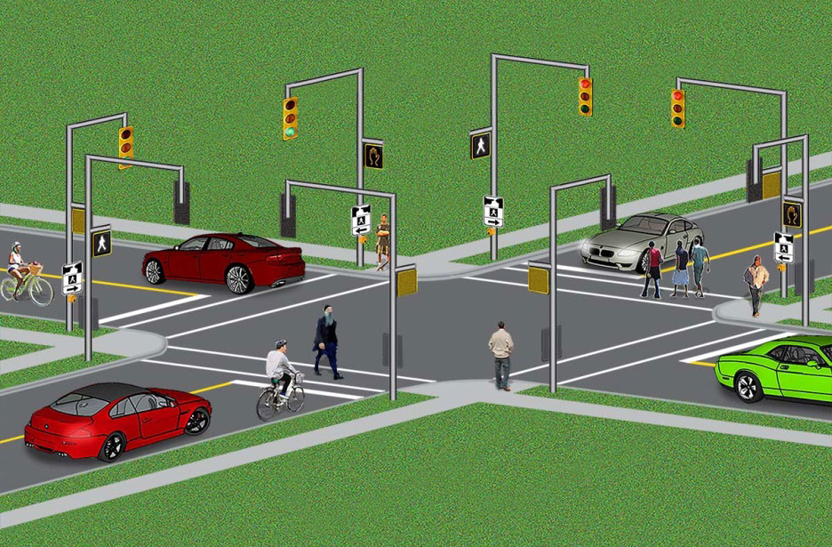 "diagram of crosswalks at an intersection with traffic signals and pedestrian signals. The image shows a four-way intersection of two two-lane roadways. There are two traffic signals for each direction of travel. There are four crosswalks which link the corners of the intersection.  Each crosswalk is marked by two parallel white bars that run across the roadway. There is a pedestrian signal at each end of every crosswalk. Cars and bicycles are stopped at stop lines marked by white bars on one roadway. Stopped cars and bicycles are facing a red light. Pedestrians who face a lit-up ""walking person"" symbol in white on the pedestrian signal are crossing the roadway. When this symbol is not lit up and the orange hand symbol is lit up, pedestrians are not allowed to enter the crosswalk. Cars and bicycles proceed through the intersection when the traffic light they face turns green."